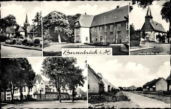 Ak Bersenbrück in Niedersachsen, Kreismuseum, Kreishaus, Torbogen, Kirche, Siedlung