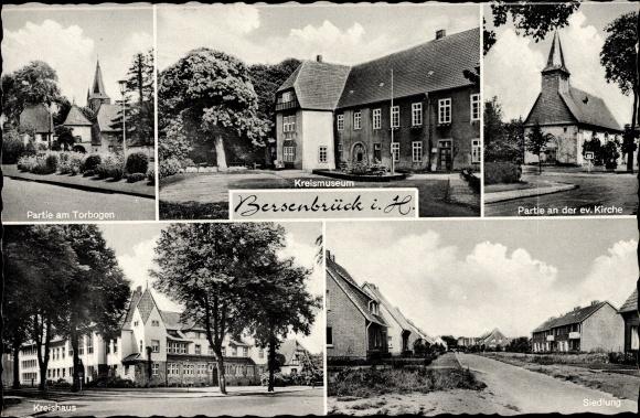 Ak Bersenbrück in Niedersachsen, Kreishaus, Torbogen, Kreismuseum, Kirche, Siedlung