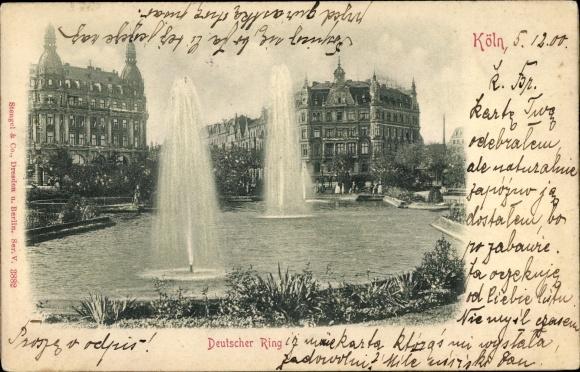 Relief Ak Köln am Rhein, Deutscher Ring, Fontäne, Teich, Parkanlagen