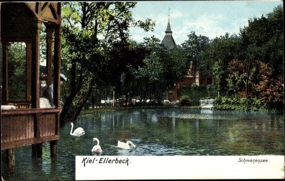 Ak Ellerbeck Kiel in Schleswig Holstein, Schwanensee, Pavillon über dem Wasser, Uferpartie