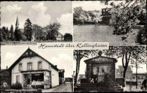 Ak Hennstedt in Schleswig Holstein, Geschäftshaus Hermann Ehlers, Ehrenmal, Kirche, See