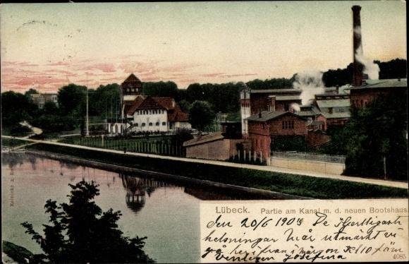 Ak Lübeck in Schleswig Holstein, Partie am Kanal mit dem neuen Bootshaus