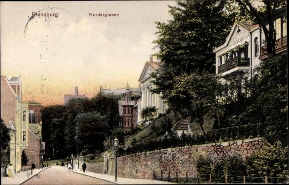 Ak Flensburg in Schleswig Holstein, Nordergraben, Straßenansicht