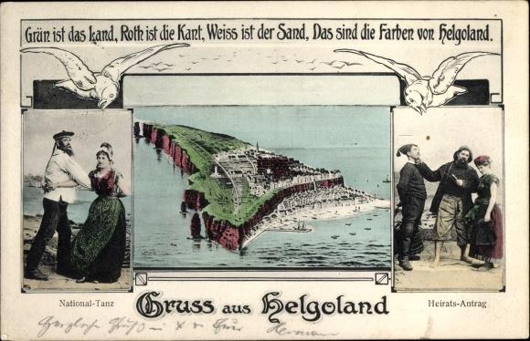Ak Helgoland in Schleswig Holstein, Inselpanorama, Nationaltanz, Heiratsantrag, Möwen
