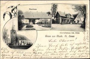 Ak Rhade Niedersachsen, Pfarrhaus, Kirche, Geschäftshaus Joh. Otten