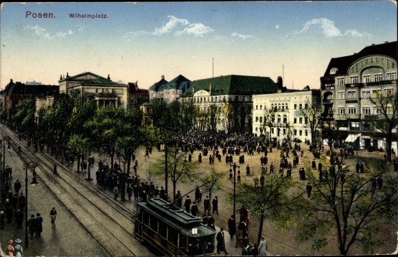 Ak Poznań Posen, Wilhelmplatz, Straßenbahn