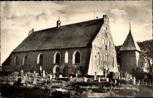 Ak Landkirchen auf Fehmarn in Schleswig Holstein, Blick auf die Kirche, Friedhof