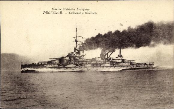 Ak Französisches Kriegsschiff, Provence, Cuirassé à Turbines, Marine Militaire Francaise