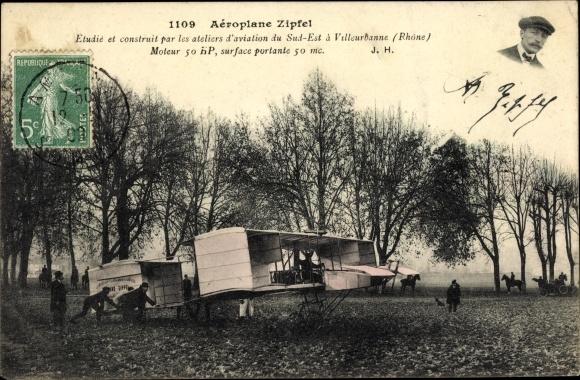 Ak Aéroplane Zipfel, Ateliers d'Aviation du Sud Est à Villeurbanne Rhône, Flugpionier