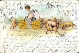 Litho Glückwunsch Neujahr, Engel, Fahrrad, Schweine, 20 Mark Goldmünzen Deutsches Reich 1901