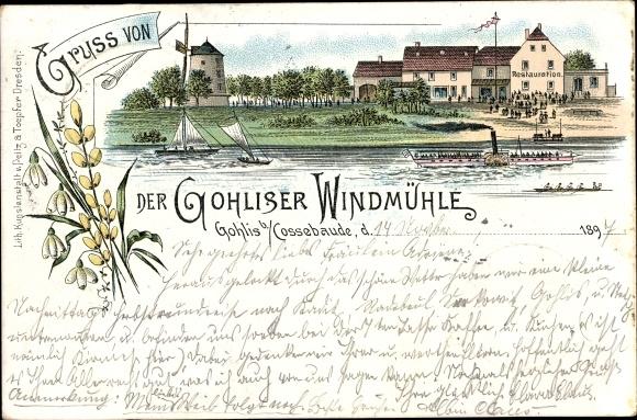 Litho Dresden West Gohlis, Gohliser Windmühle