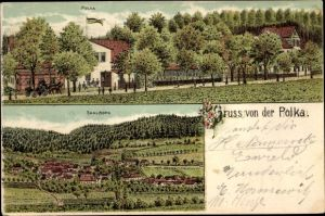 Litho Saalborn Blankenhain in Thüringen, Gruß von der Polka, Saalborn