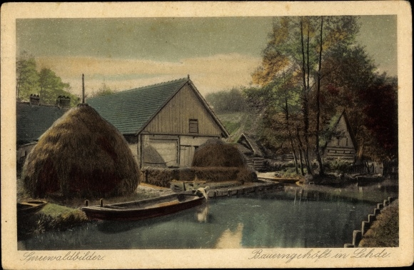 Ak Lehde Lübbenau im Spreewald, Bauerngehöft in Lehde, Panorama