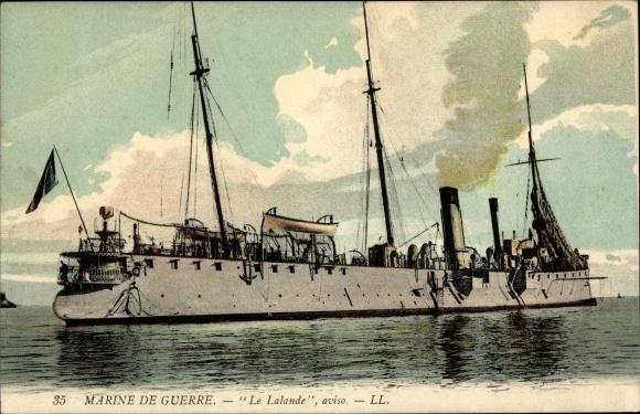 Ak Französisches Kriegsschiff, Le Lalande, Aviso, Marine de Guerre