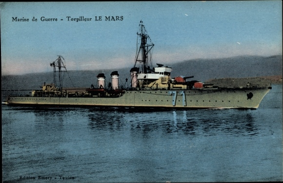 Ak Französisches Kriegsschiff, Le Mars, 71, Torpilleur, Marine de Guerre