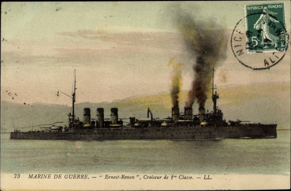 Ak Französisches Kriegsschiff, Ernest Renan, Croiseur de 1re Classe, Marine de Guerre
