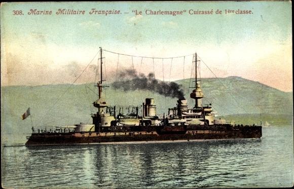 Ak Französisches Kriegsschiff, Charlemagne, Cuirassé à Tourelles, Marine Militaire Francaise