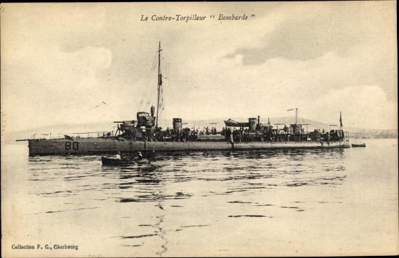 Ak Französisches Kriegsschiff, Bombarde, BO, Contre Torpilleur