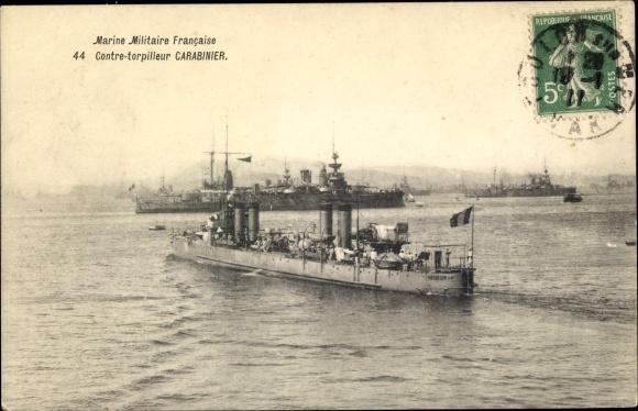 Ak Französisches Kriegsschiff, Carabinier, Contre Torpilleur, Marine Militaire Francaise