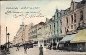Ak Blankenberge Westflandern, La Centre de la Digue, Geschäfte, Straßenpartie