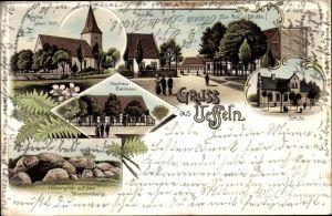 Litho Ueffeln Balkum Bramsche Niedersachsen, Gasthaus Ballmann, Zur Post v. Strubbe, Schule, Kirche