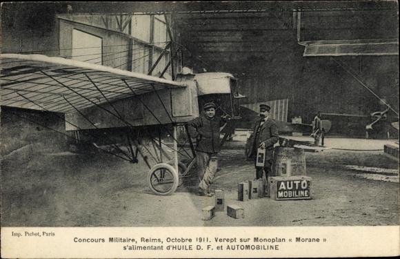 Ak Concours militaire, Reims, Octobre 1911, Verept sur Monoplan Morane, Automobiline, Flugpionier