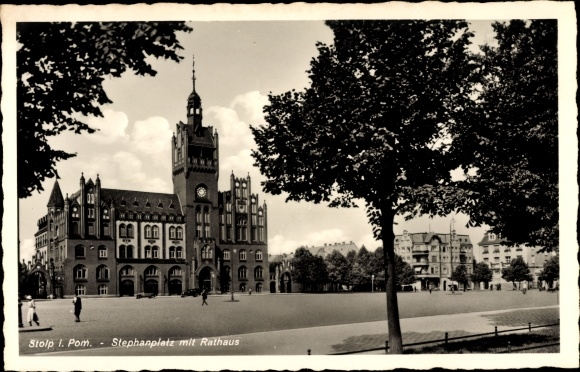 Ak Słupsk Stolp Pommern, Stephanplatz mit Rathaus