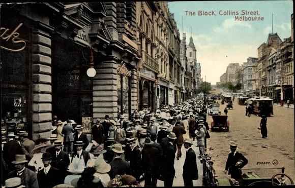 Ak Melbourne Victoria Australien, The Block, Collins Street, Straßenansicht, Passanten