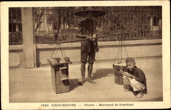 Ak Cholon Saigon Cochinchine Vietnam, Marchand de friandises, Straßenverkäufer