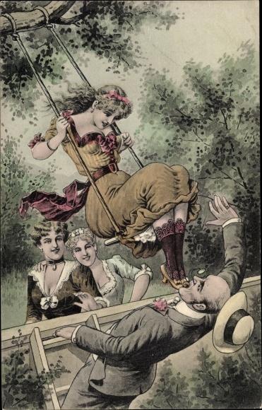 Künstler Ak Junge Frau auf einer Schaukel, Dekolleté, Beine, Mann mit Monokel