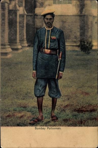 Ak Mumbai Bombay Indien, Policeman, Polizist in Uniform