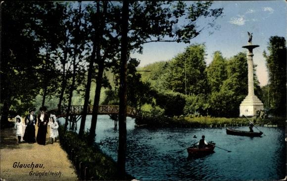 Ak Glauchau in Sachsen, Gründelteich, Wasserpartie