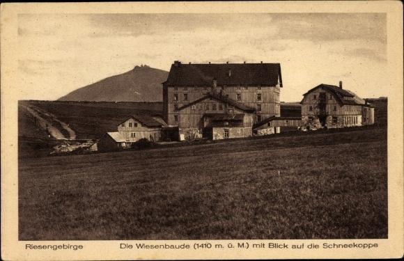 Ak Pec pod Sněžkou Petzer Reg. Königsgrätz, Wiesenbaude, Luční bouda, Schneekoppe
