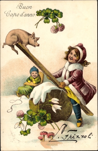 Ak Glückwunsch Neujahr, Mädchen mit einem Schwein auf einer Schaukel, Schlitten, Kleeblätter