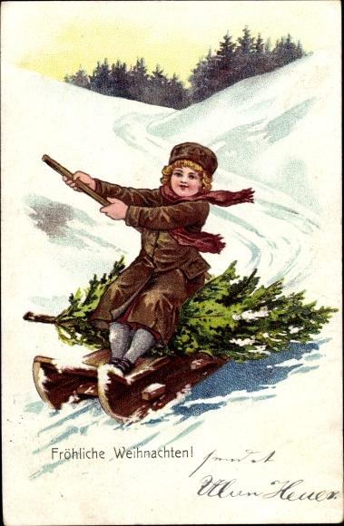 Ak Frohe Weihnachten, Kind auf einem Schlitten, Tannenbaum