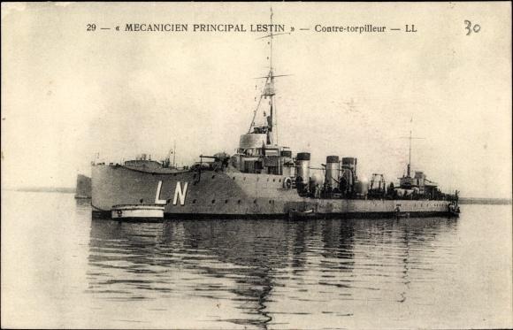 Ak Französisches Kriegsschiff, Mecanicien Principal Lestin, Contre Torpilleur