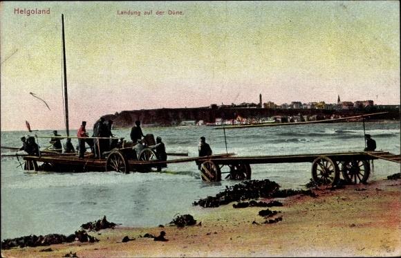 Ak Helgoland in Schleswig Holstein, Landung auf der Düne, Wagen zum Einbooten von Passagieren
