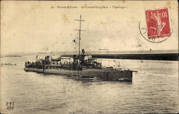 Ak Französisches Kriegsschiff, Flamberge, FB, Contre Torpilleur, Marine Militaire