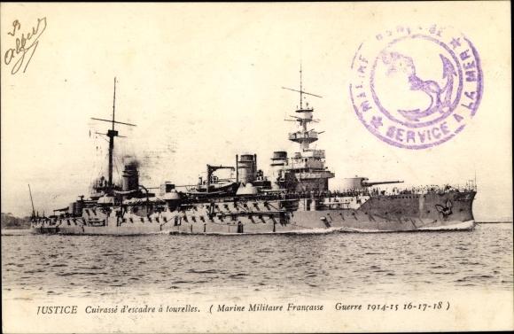 Ak Französisches Kriegsschiff, Justice, Cuirassé d'Escadre à Tourelles, Marine Militaire Francaise