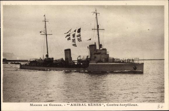 Ak Französisches Kriegsschiff, Amiral Sénes, Contre Torpilleur, Marine de Guerre