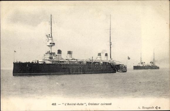 Ak Französisches Kriegsschiff, Amiral Aube, Croiseur Cuirasse