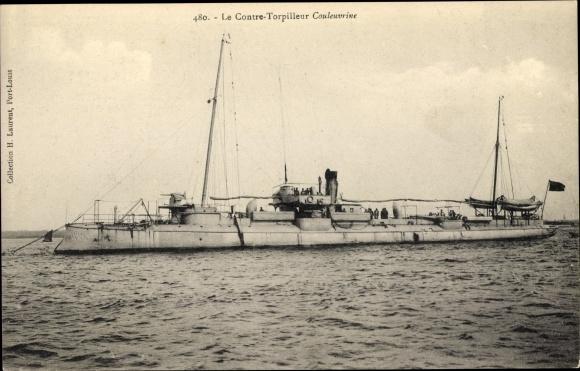 Ak Französisches Kriegsschiff, Couleuvrine, Contre Torpilleur