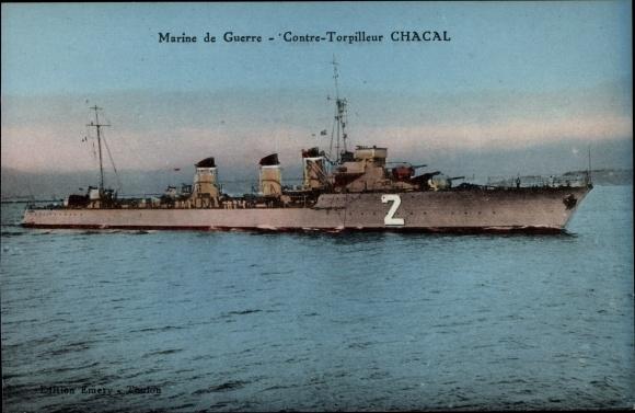 Ak Französisches Kriegsschiff, Chacal, 2, Contre Torpilleur, Marine de Guerre