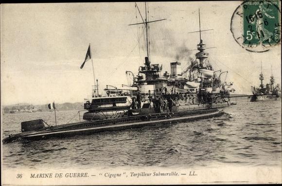 Ak Französisches U Boot, Cigogne, Torpilleur Submersible, Marine de Guerre, Kriegsschiffe