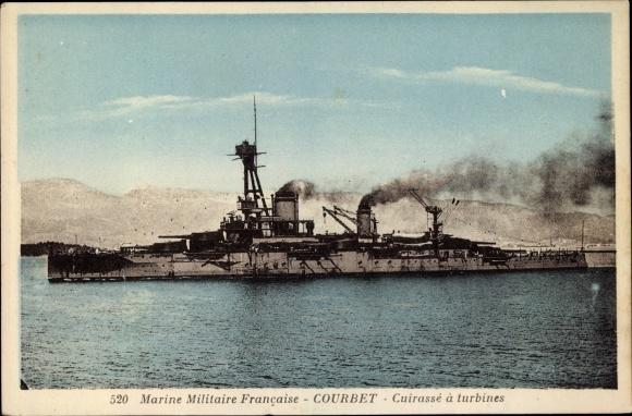 Ak Französisches Kriegsschiff, Courbet, Cuirassé à Turbines, Marine Militaire Francaise