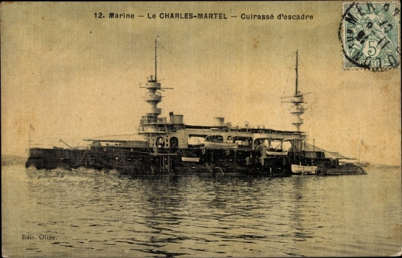 Ak Französisches Kriegsschiff, Charles Martel, Cuirassé d'Escadre, Marine
