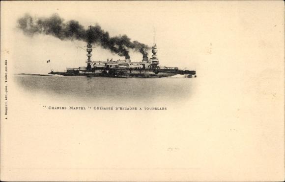 Ak Französisches Kriegsschiff, Charles Martel, Cuirassé d'Escadre à Tourelles