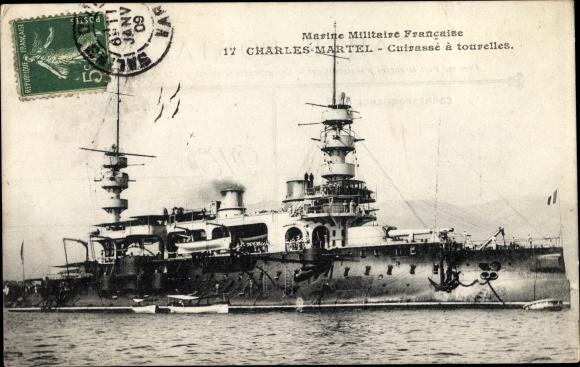 Ak Französisches Kriegsschiff, Charles Martel, Cuirassé à Tourelles, Marine Militaire Francaise