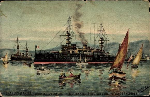 Künstler Ak Französisches Kriegsschiff, Charles Martel, Cuirassé d'Escadre