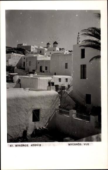 Ak Insel Mykonos Griechenland, Teilansicht, Wohnhäuser, Windmühle